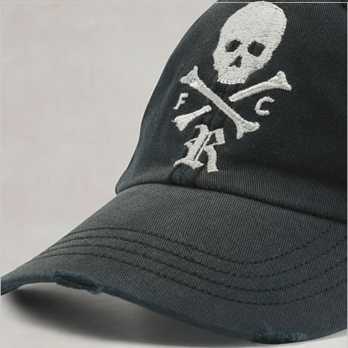 d906f26c2bf Ralph Lauren Rugby mens Cap FADED SKULL  amp  BONES CAP black (3924644) (S