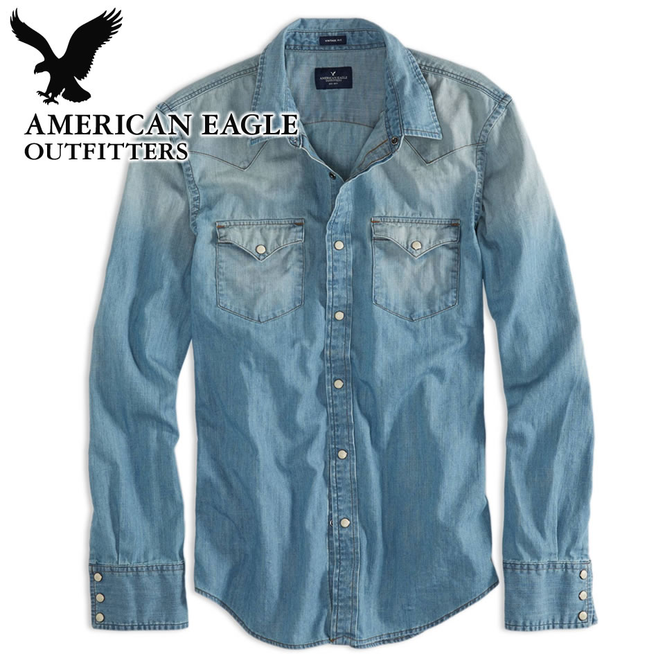 16a04eb7af American Eagle mens denim Western shirt AE Denim Western Shirt washed blue  (8151-8742) (S