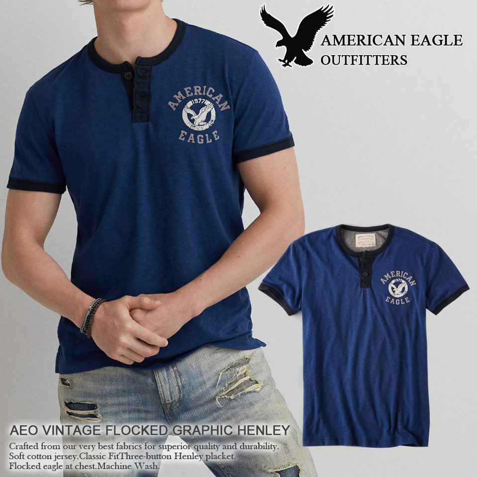 Shushubiz American Eagle Mens Short Sleeve Henry V Neck T Shirt Aeo Tendencies Tshirt Monday To Long Navy Xxl Vintage Graphic Henley