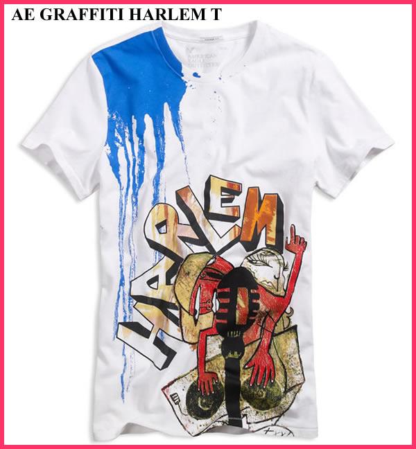 American Eagle AE men s short sleeve T shirt AE GRAFFITI HARLEM T white  (0161-2959) S M L XL lucky5days more than 10 facdb4615de
