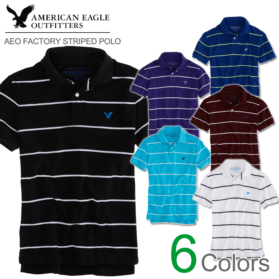 American Eagle mens short sleeve polo shirt AEO FACTORY STRIPED POLO (6  colors) ... 68afd891c50c8