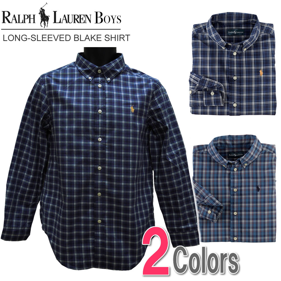 35a7d8f59 Two colors of polo Ralph Lauren Boys long sleeves casual shirt check  Long-Sleeved Blake ...
