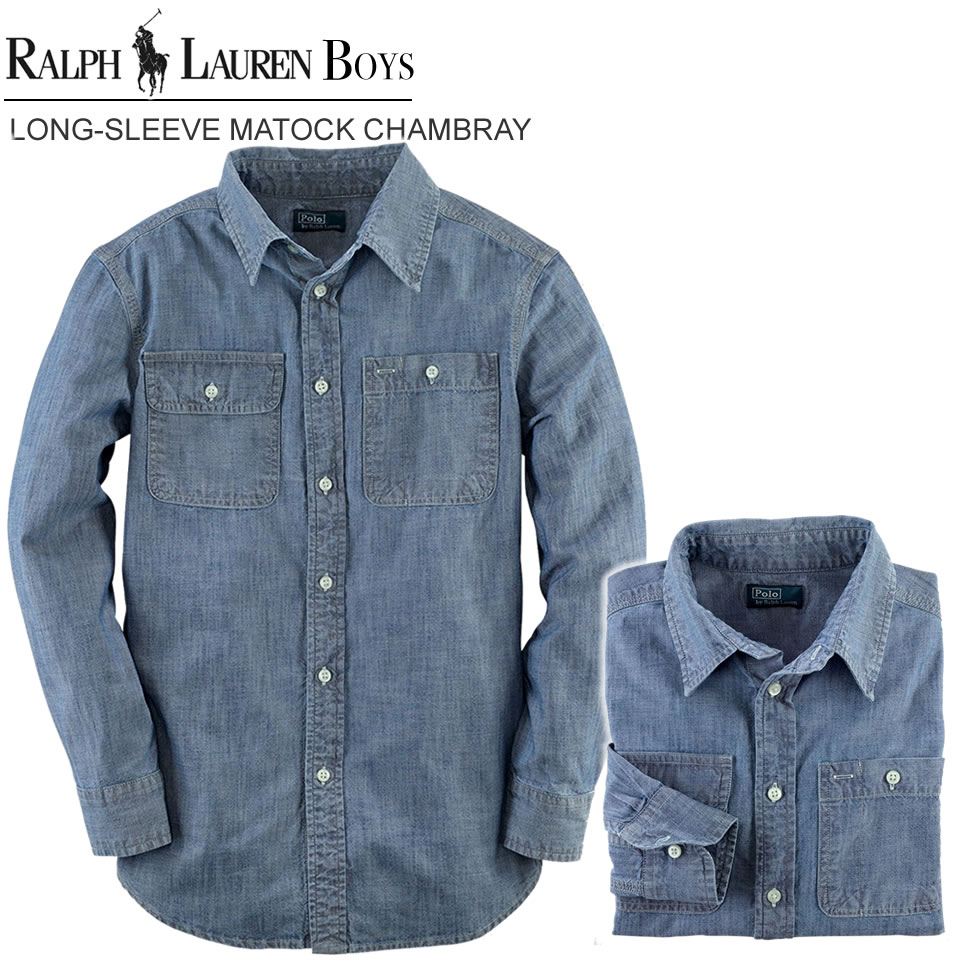 dd1b2249b Polo Ralph Lauren Boys long sleeves chambray shirt Long-Sleeve Matlock  Chambray dark wash chambray ...