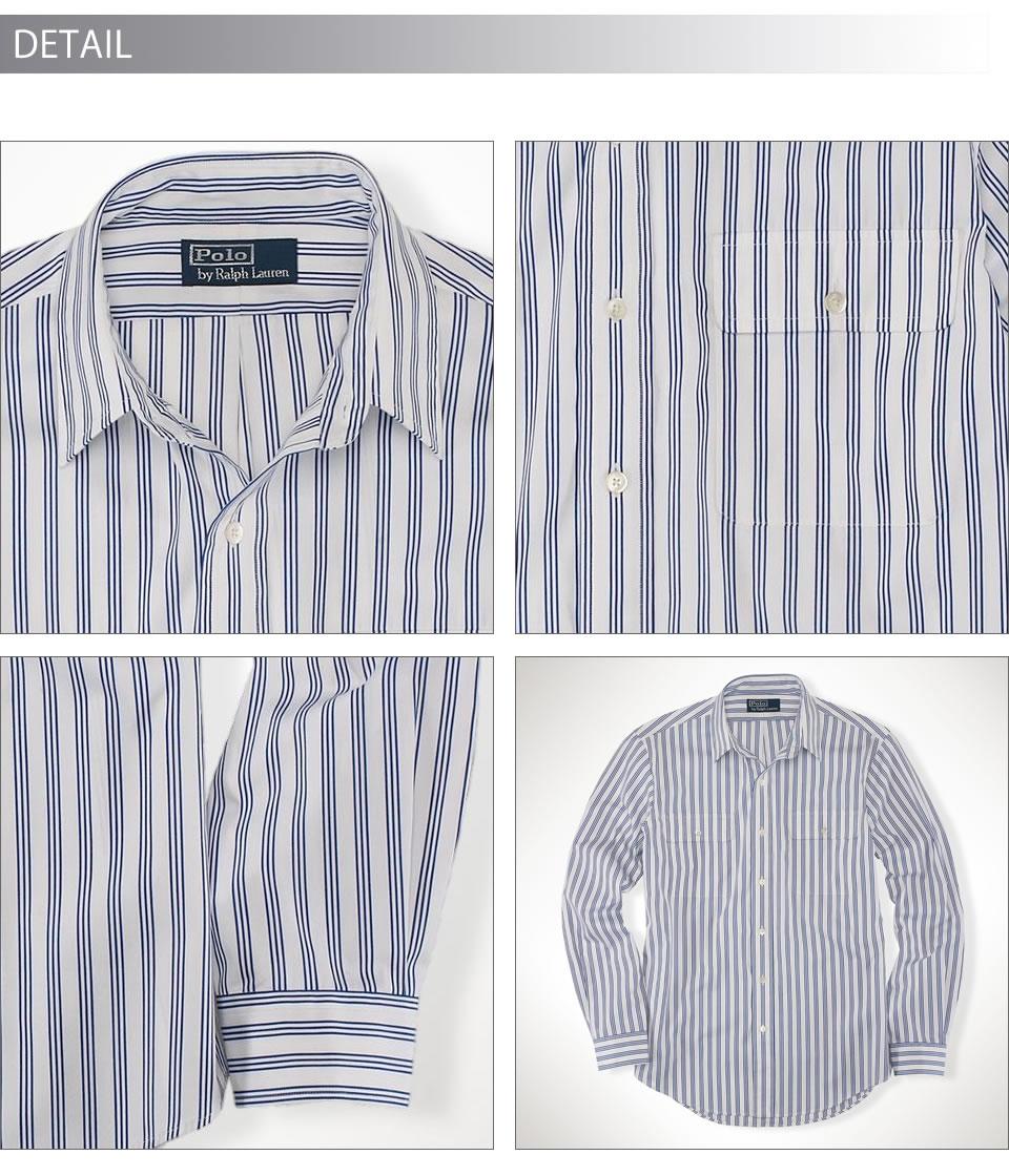 Polo Ralph Lauren men long sleeves work shirt Custom-Fit Striped Shirt  white / royal (POLO RALPH LAUREN)(19998626)(S/M/L/XL), American casual,  casual shirt, ...