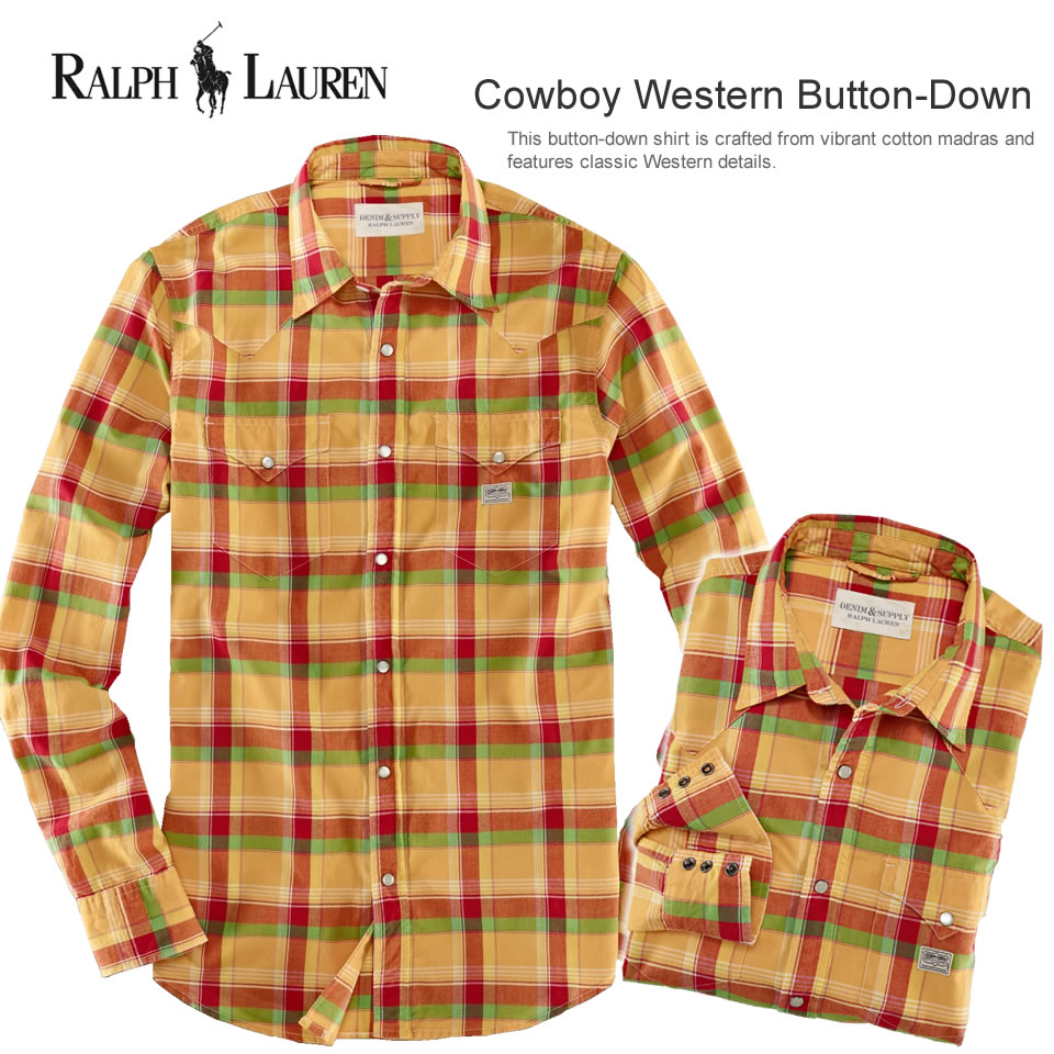 Shirt Lauren テニスンプレイド Sleeve Western Cowboy Casual Polo polo Ralph Men's Button Lauren20571006smlxlCasual Long Down SUMpzV