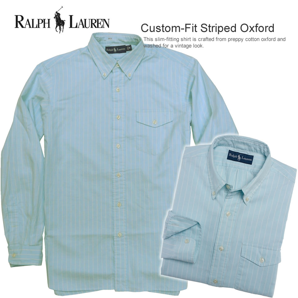 bea7209238 Polo Ralph Lauren men long sleeves Oxford shirt Custom-Fit Striped Oxford  light blue ...