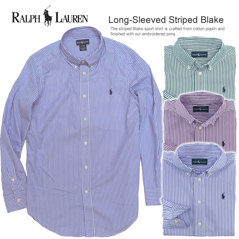 Polo Ralph Lauren Boys long sleeves casual shirt horizontal stripe Long-Sleeved Striped Blake (three colors) (POLO RALPH LAUREN)(21589526)(S/M/L/XL), American casual, casual shirt, short sleeves, men's vintage, logo, casual clothes, polo ,polo,POLO