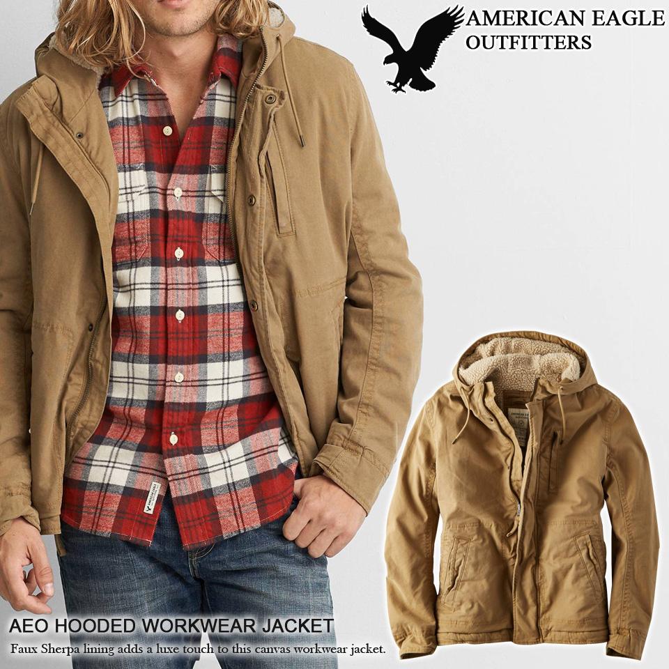 72a2988f17d Shushubiz American Eagle Mens Sherpa Lined Canvas Hood Jacket