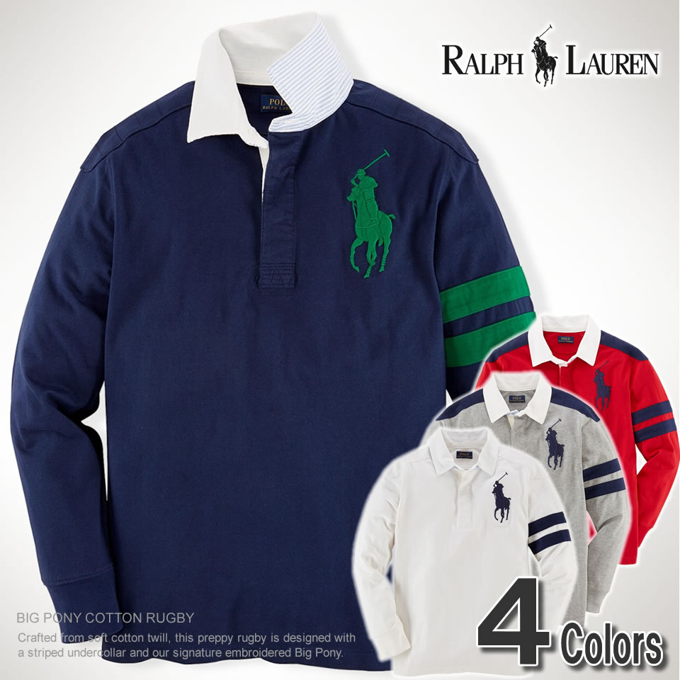 16265ca6 There is the size that is big to a gift more than polo Ralph Lauren Boys  big pony long sleeves polo shirt BIG PONY COTTON RUGBY (four colors) POLO  ...