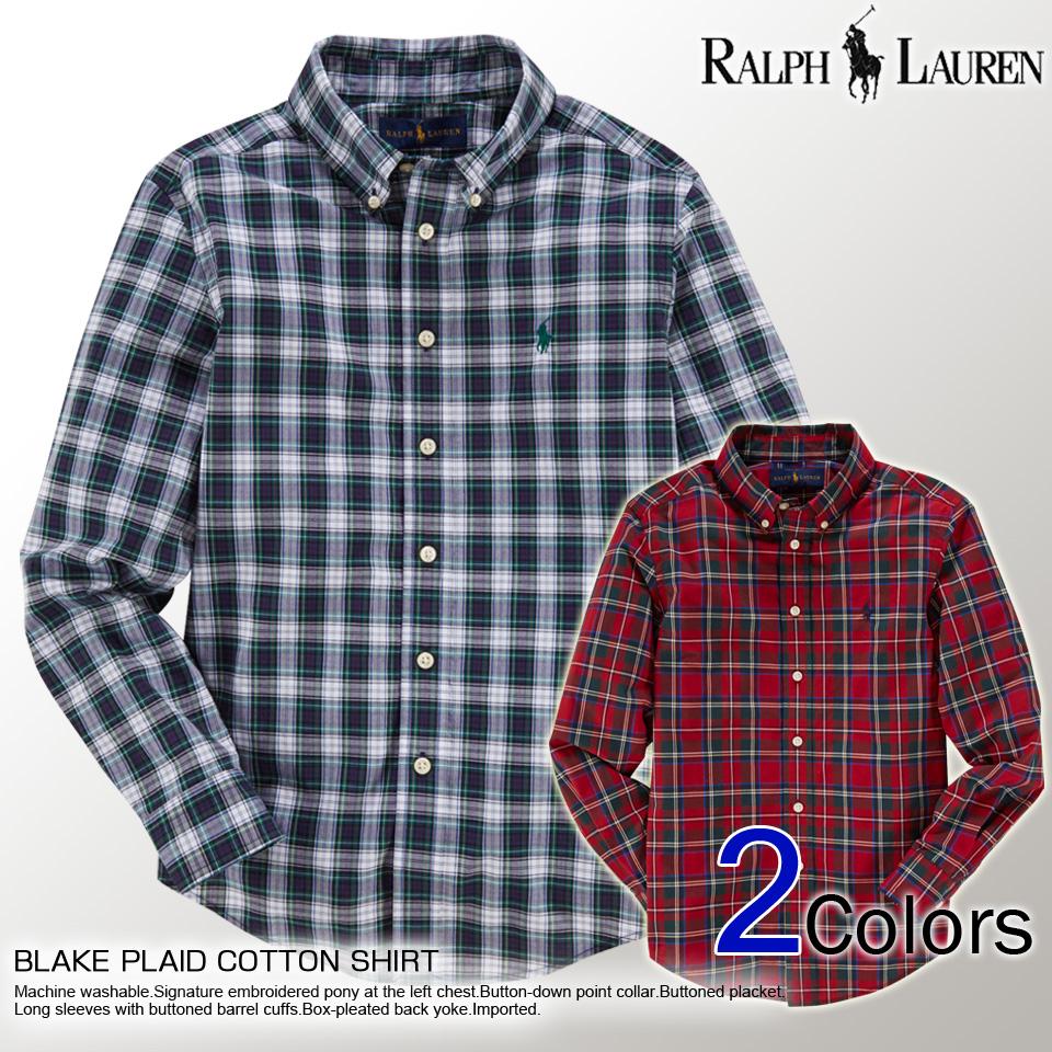 4928aefae Polo Ralph Lauren boys long sleeve shirts BLAKE PLAID COTTON SHIRT  two-color POLO RALPH
