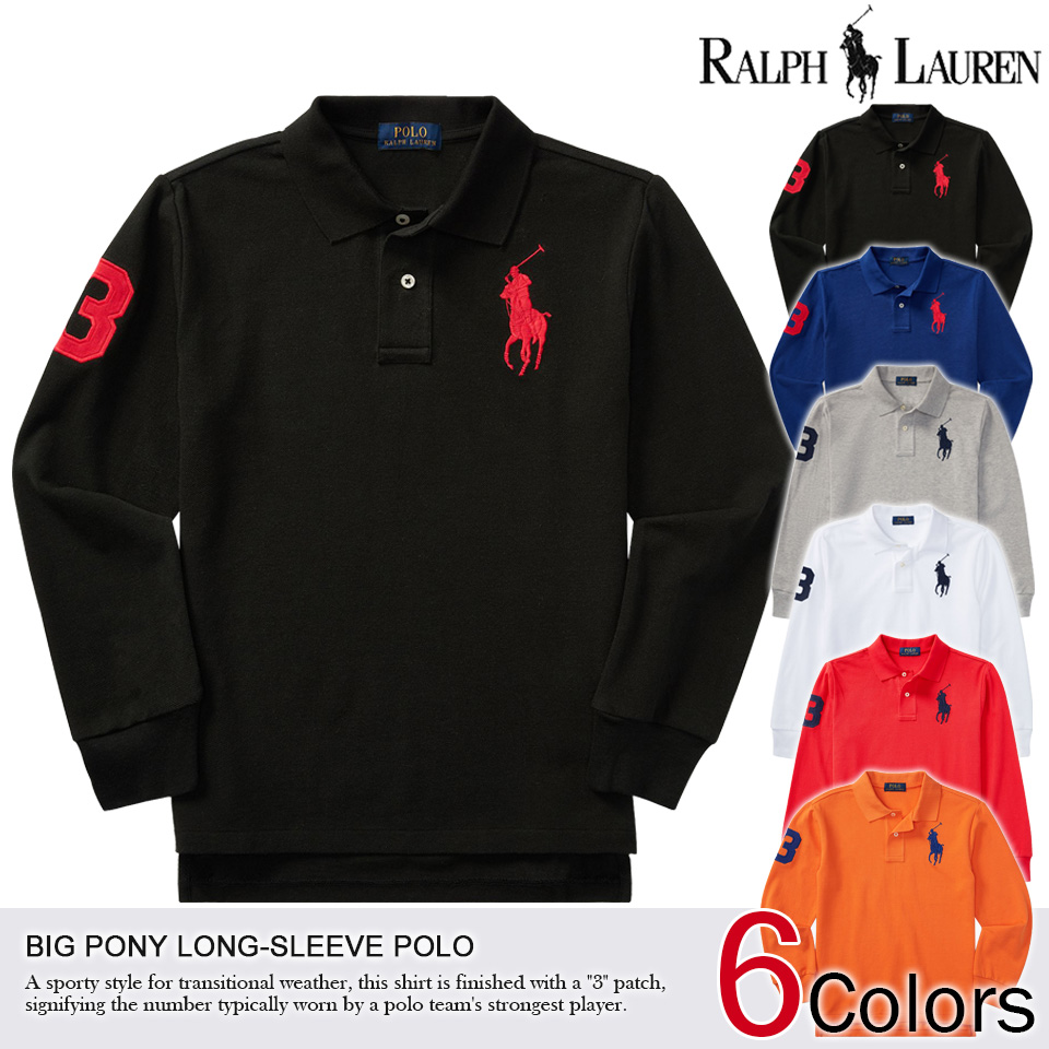 2014 new fall! Polo Ralph Lauren boys big pony numbering long sleeve polo  shirt ...