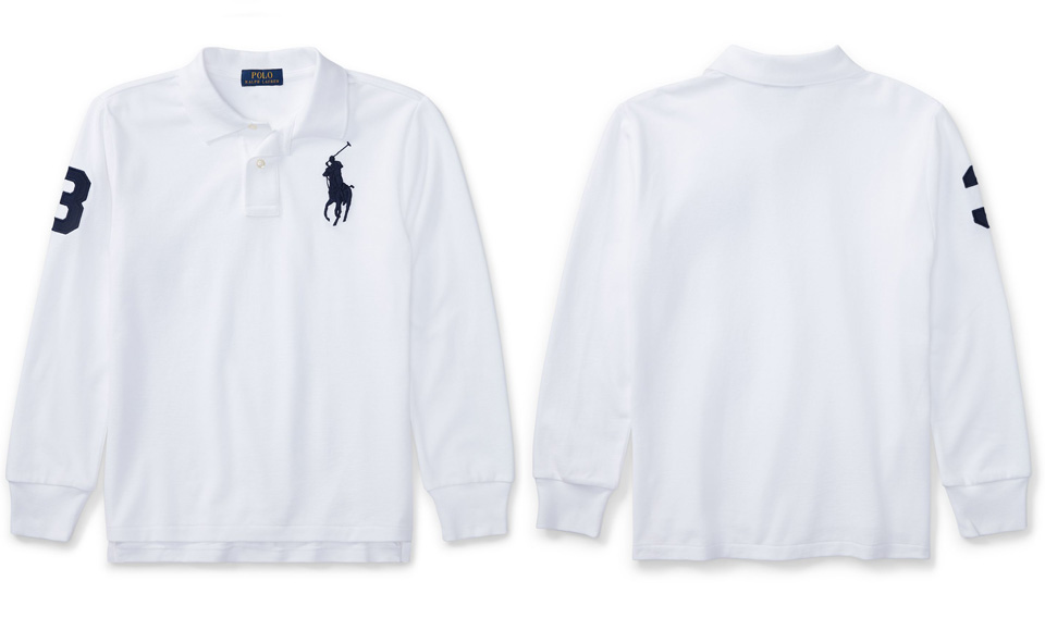 Polo Ralph Lauren boys big pony numbering long sleeve polo shirt ...