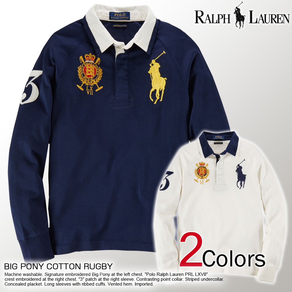 15a89b501d63 Polo Ralph Lauren boys big pony long sleeve polo shirt BIG PONY COTTON  RUGBY (2 colors) POLO RALPH LAUREN (68418346) L XL lucky5days more than  10