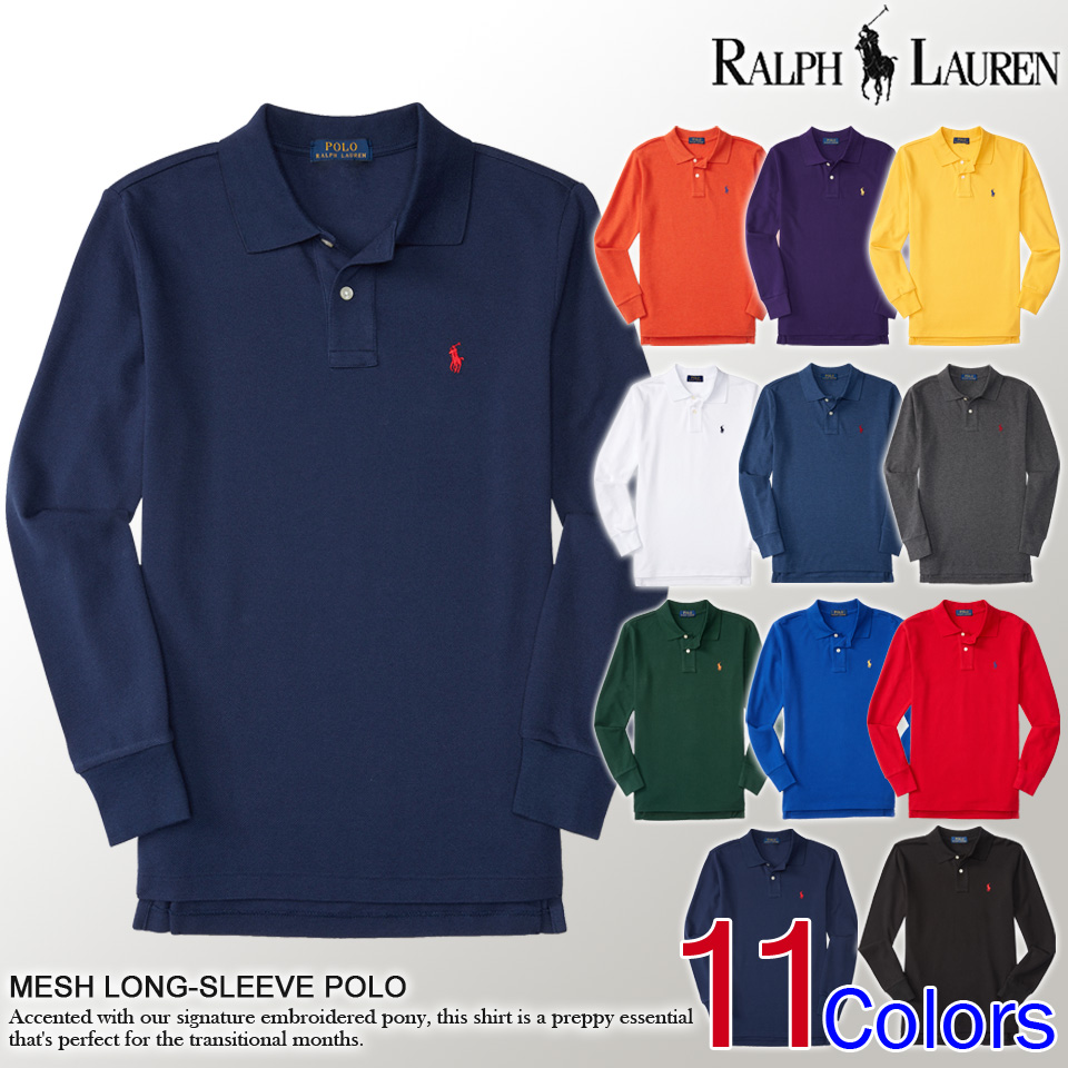 ... color. ? Polo Ralph Lauren boys long sleeve polo shirt MESH LONG-SLEEVE  POLO 11 color ...