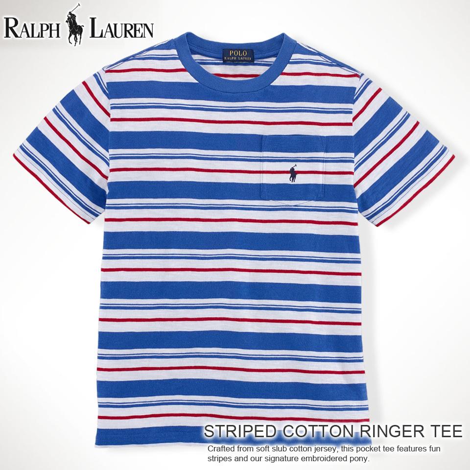 6198d5b1958 Polo Ralph Lauren boys short sleeve T shirt STRIPED COTTON POCKET TEE new  Royal (POLO ...