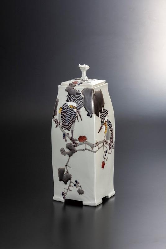 ★【九谷焼】 【石川県指定無形文化財・武腰 潤 作】 12号香器 山蝉の風景・香りの瓶