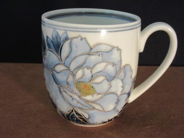【九谷焼】 マグカップ(マイカップ、陶器) 染付牡丹 宮吉ゆみこ