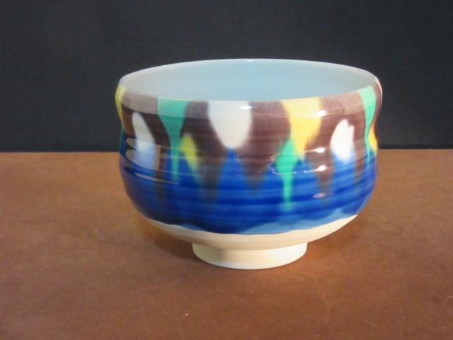 【九谷焼】  抹茶碗 (茶器、茶道具、抹茶碗)  釉彩  柴田博