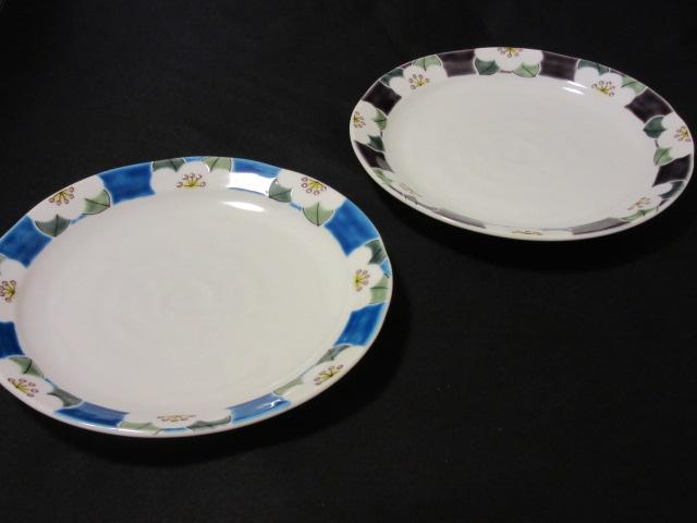 【九谷焼】ペアパスタ皿(盛皿、大皿) 色絵椿