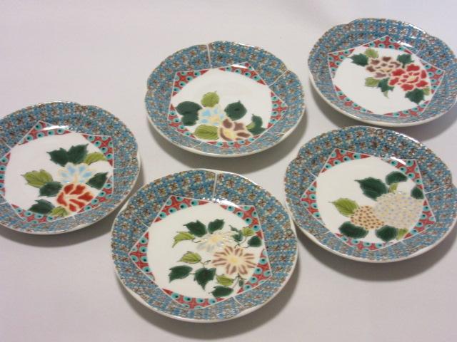 【九谷焼】 4.3号皿揃(皿、小皿、 取皿、 銘々皿)  小紋金五草花