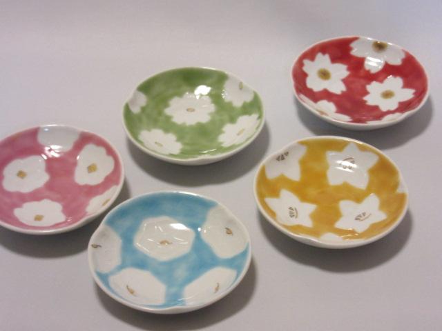 【九谷焼】 3.3号皿揃(皿、小皿、 取皿、 銘々皿) 白盛五草花