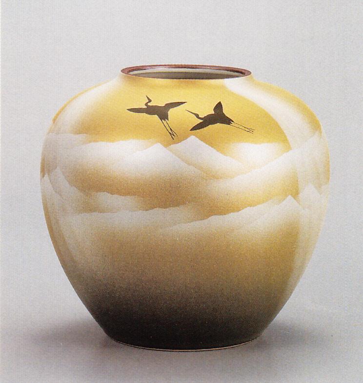 【九谷焼】 7.5号花瓶 銀彩山