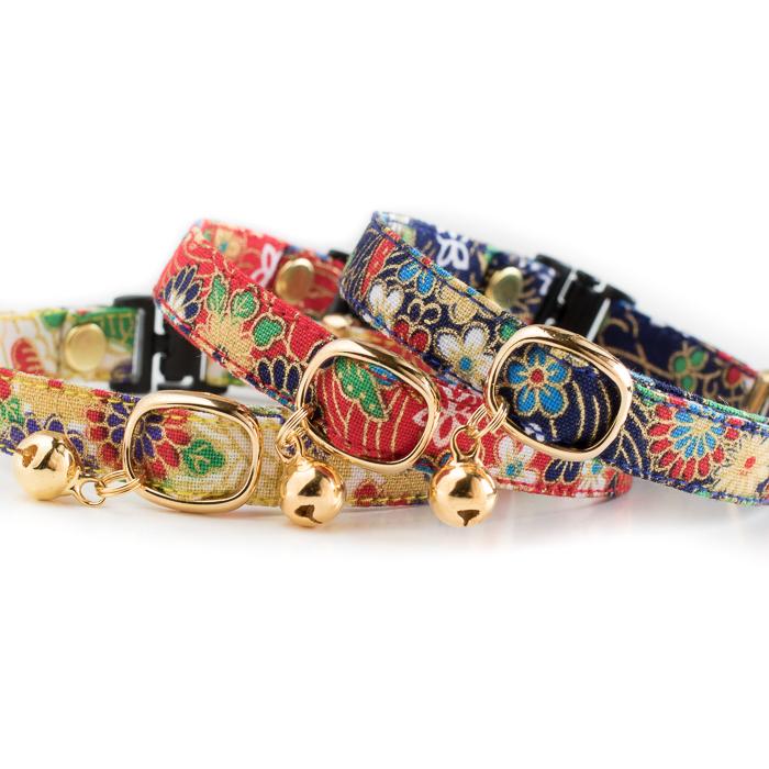 手作りの猫用首輪 日本製 ハンドメイドの柔らかい首輪です 首輪作家が自らデザイン 製作しています 猫 首輪 和柄 猫用首輪 一部予約 猫雑貨招福 業界No.1 鈴 セーフティ-バックル付