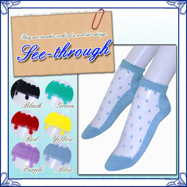★Six colors of see-through & dot ★ sneaker socks ♪♪ color variations