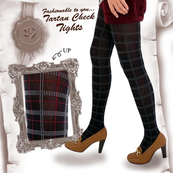 Tartan pattern tights black M-L size check pattern pattern tights tights color tights check trends