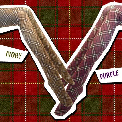 -Popular check tights-Tartan