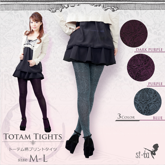 Totem pattern tights totem pattern tights [M-L] paisley tights four circle party wedding ceremony fall and winter