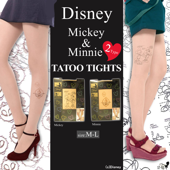 DISNEY (Disney) tights Disney Mickey ★ Minnie tattoo tights Mickey Minnie tattoo stocking Disney tattoo stockings [M-L] and [NodeType] [toe slew]