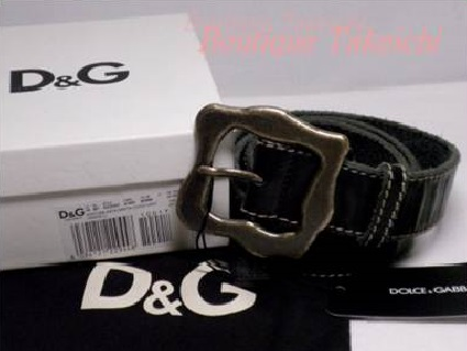 【D&G】レザー★ベルト ダメージ加工*黒×ダークグレー【中古】/mA453