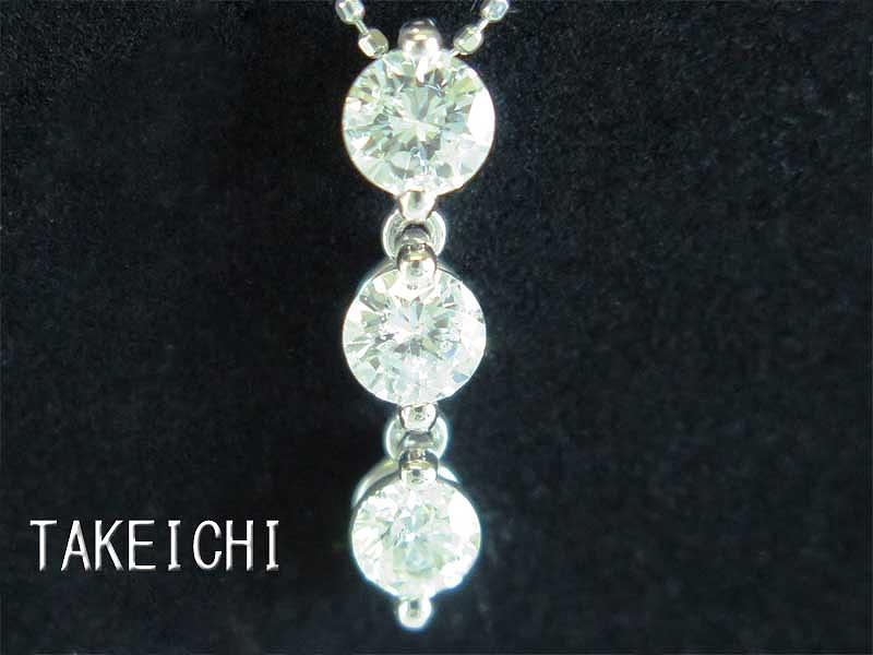 K18 Pt900★ネックレス◇ダイヤモンド0.384ct 0.357ct【中古】/27442