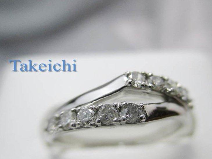 Pt900★リング 指輪◇ダイヤモンド 菱形のデザイン●11号 【中古】/29651