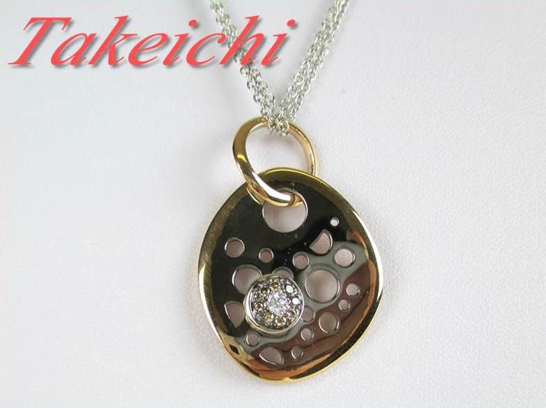 【TALENTO】K18WG/PG★ネックレス ダイヤ Wチェーン【中古】/mF803/23866
