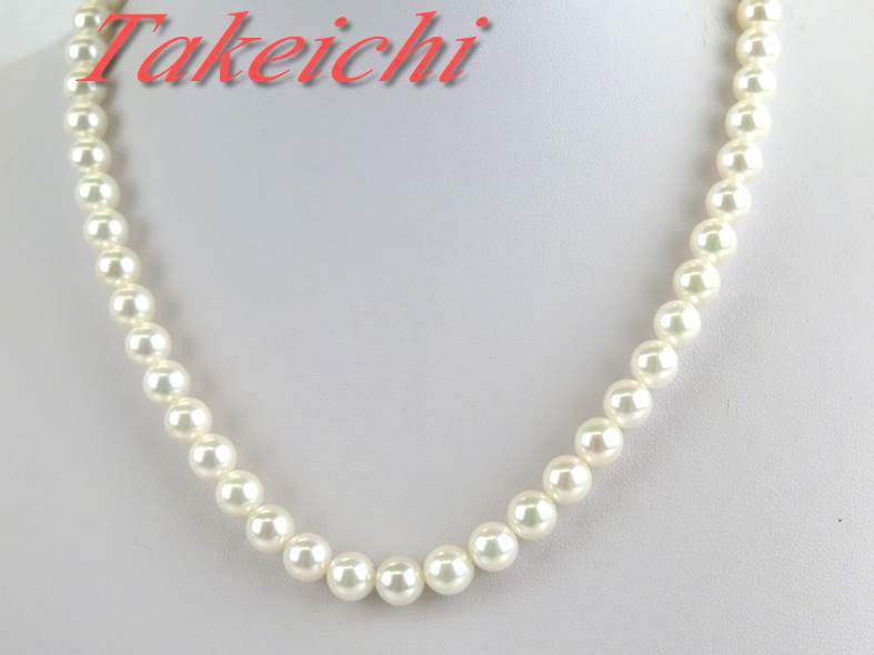 SV★ネックレス パール7.1ミリ~7.4ミリ 真珠♪一連【中古】/30643