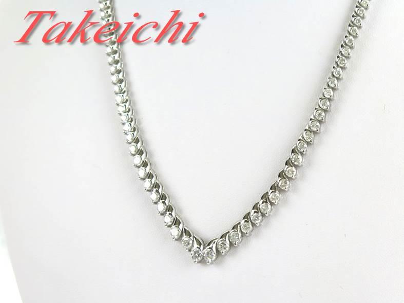 K18WG★ネックレス ダイヤモンド10.00ct◇一連 V字【中古・新品仕上げ】/31292