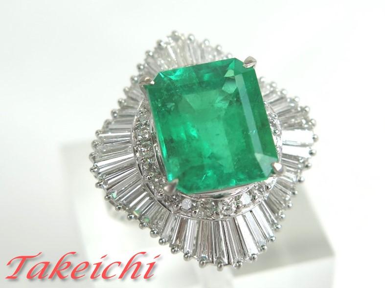 Pt900★リング 指輪 天然ベリル エメラルド6.16ct ダイヤモンド2.06ct●11号【中古】/31985