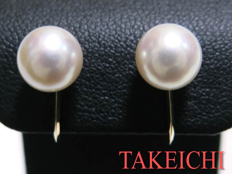 K18YG★イヤリング パール7.8ミリ シンプル 一粒真珠 【中古・新品仕上げ済み】/29893