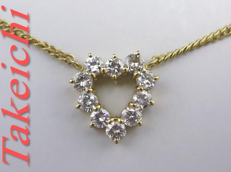 K18YG★ネックレス◇ダイヤモンド ハート型【中古】/I222/25999