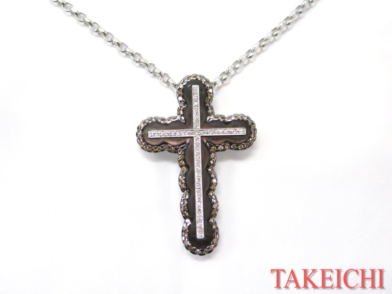 K18WG★ネックレス◇ダイヤモンド1.17ct シェル 十字架 クロス【中古】/27411