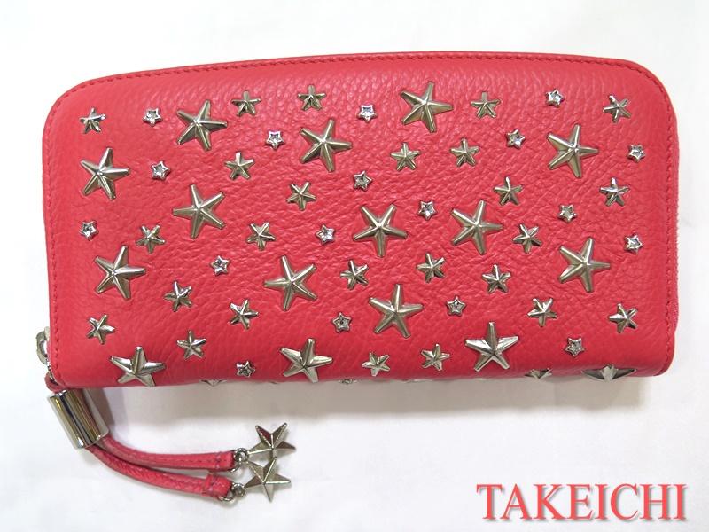 【ジミーチュウ】レザー★ラウンドファスナー長財布 ピンク スター 星柄/b24836