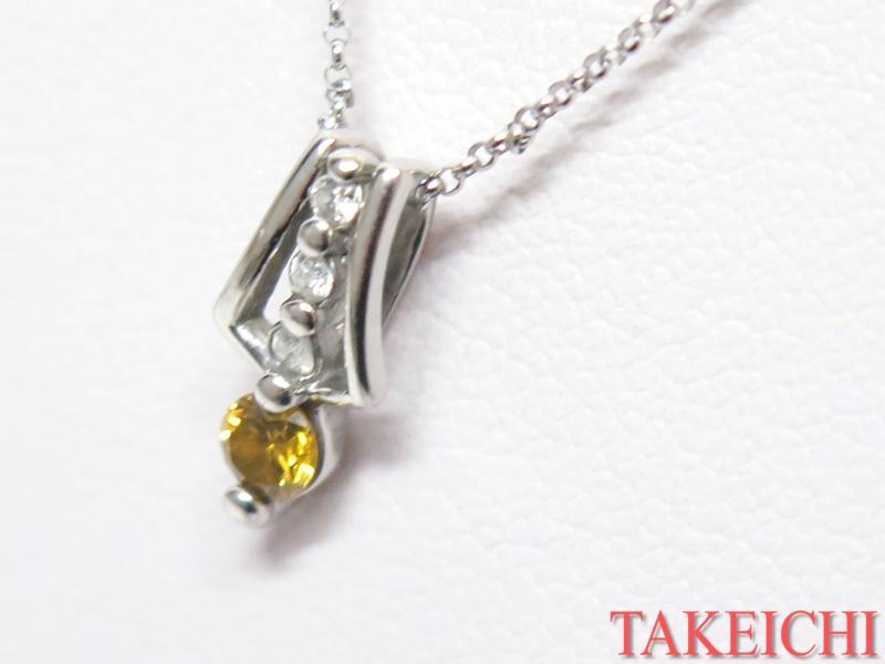K14WG/Pt900★ネックレス◇ダイヤモンド0.162ct/0.047ct プラチナ ホワイトゴールド【中古】/33149