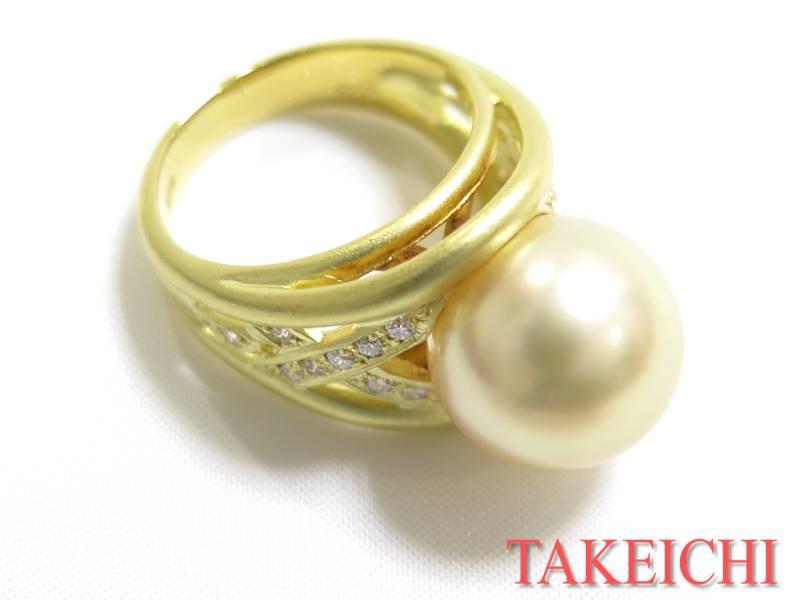 K18YG★リング パール13.0ミリ◇ダイヤモンド0.23ct●12.5号 真珠 【中古・新品仕上げ済み】/31653