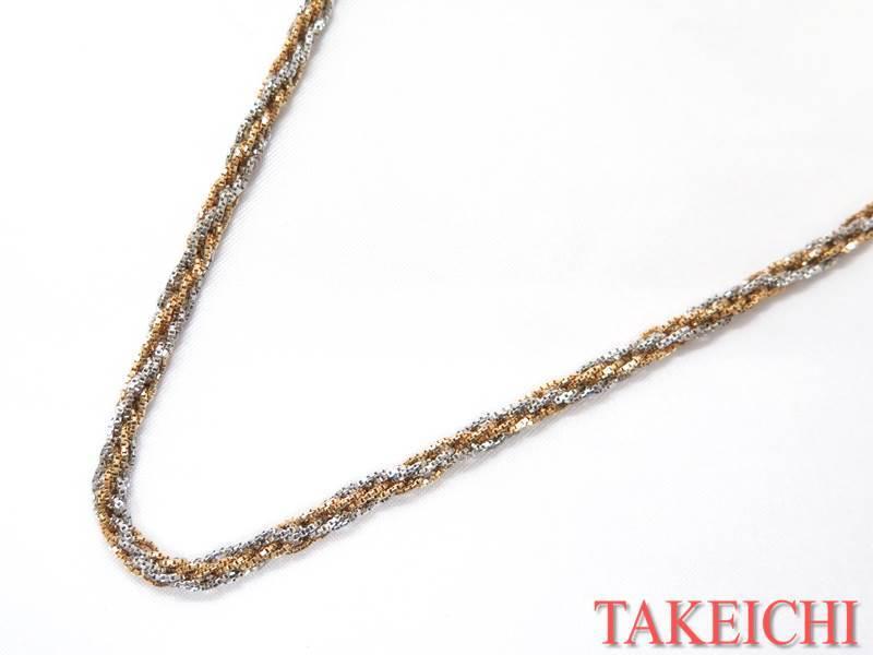 K18/Pt850★ネックレス バイカラー スクリュー 金【中古】/31961