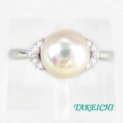 Pt900 ★リング パール9.0mm/ダイヤモンド0.15ct ●22号【中古】/10021371