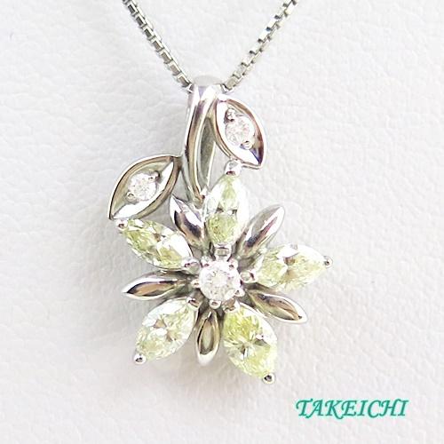 K18WG ★ネックレス ダイヤモンド0.6ct 花 39.5cm【中古】/10021410