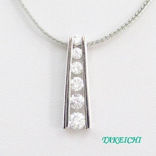 Pt850 ★ネックレス ダイヤモンド0.7ct/0.307ct 39.5cm【中古】/10021538