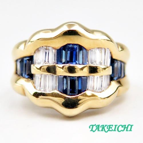 K18YG ★リング サファイア2.0ct/ダイヤモンド0.58ct ●15号【中古】/10017972